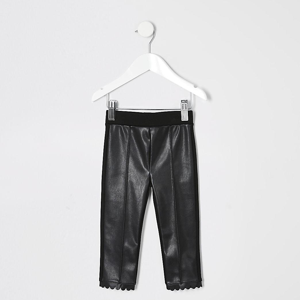 Mini girls scallop hem coated front leggings