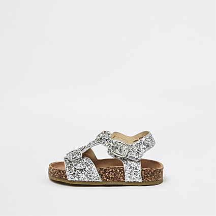 Mini girls silver glitter cork sandals