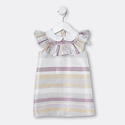 Mini girls silver metallic stripe dress