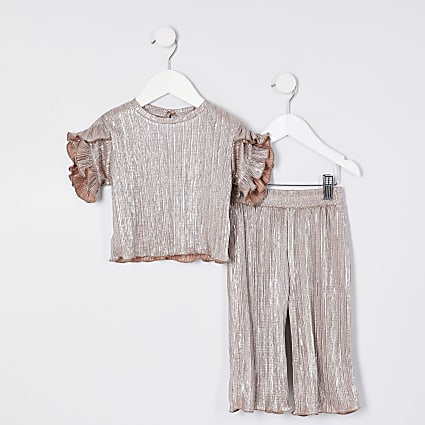 Mini girls silver plisse t-shirt outfit