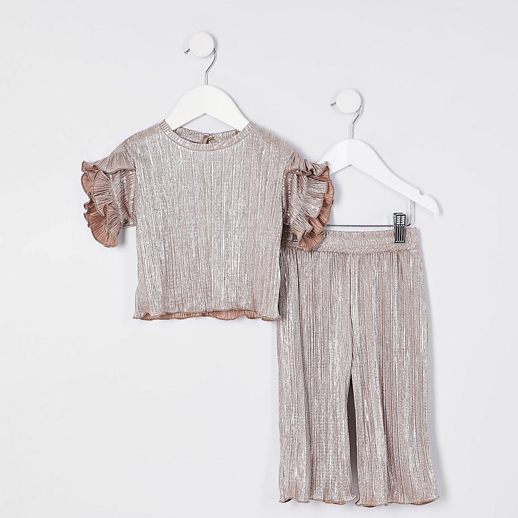 Mini girls silver plisse t-shirt outfit