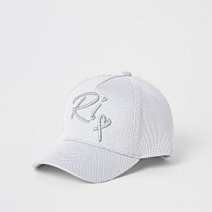 Mini – Silberne Kappe mit RI-Stickerei für Mädchen
