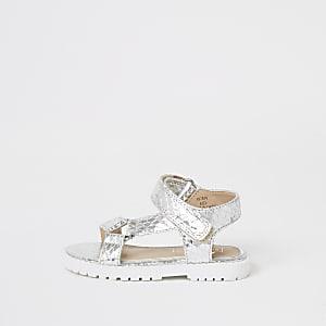 Mini – Silberne, robuste Sandalen mit Klettverschluss für Mädchen