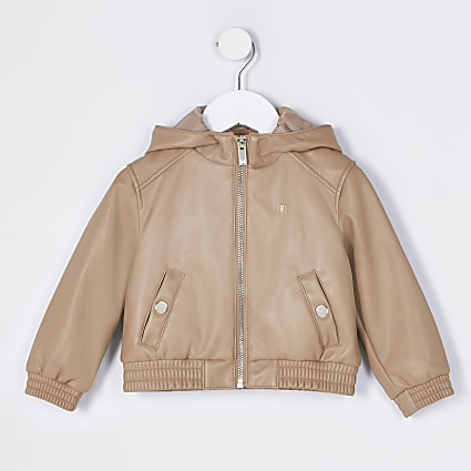 Mini girls stone hooded bomber jacket