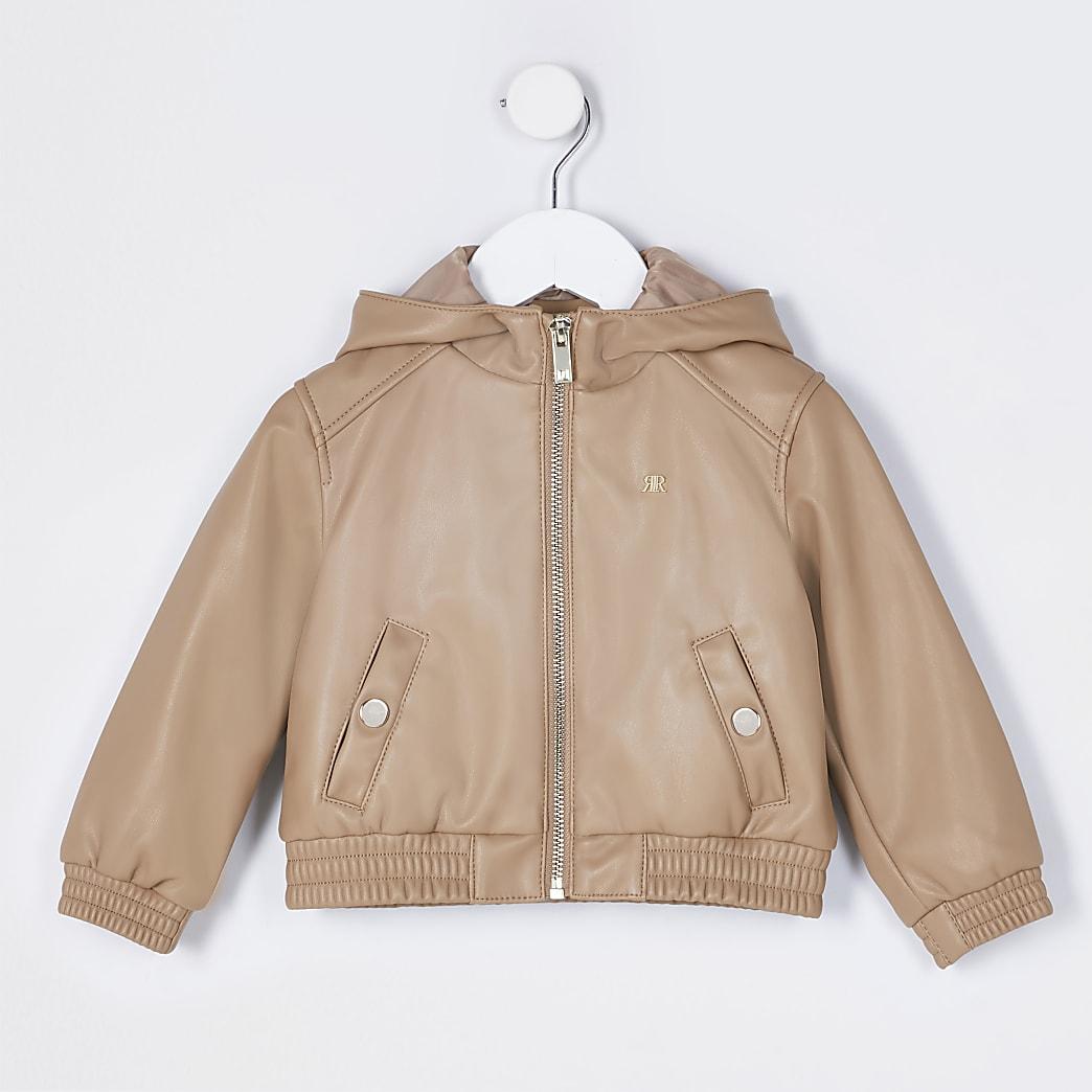 Mini girls stone hooded bomber jacket