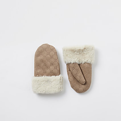 Mini girls stone suedette embossed mittens