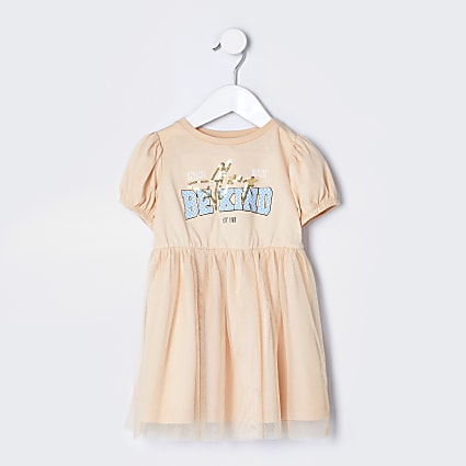 Mini girls stone t-shirt tulle dress