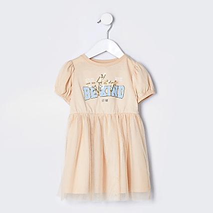 Mini girls stone t-shirt tulle dress