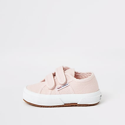 Mini girls Superga pink velcro trainers