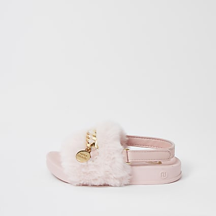 Mini girls swag chain fur sliders