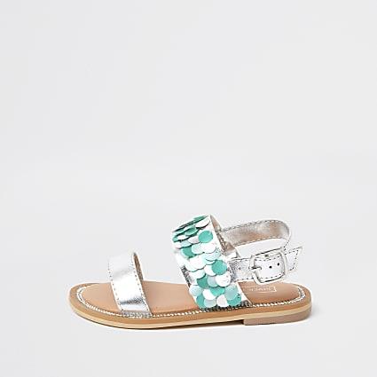 Mini girls turquoise sequin flat sandal