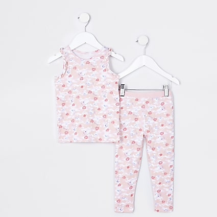 Mini girls unicorn crop top and legging set