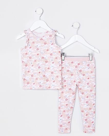 Mini girls unicorn crop top and legging set