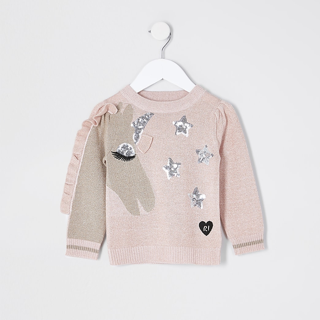 Mini girls unicorn frill sequin jumper