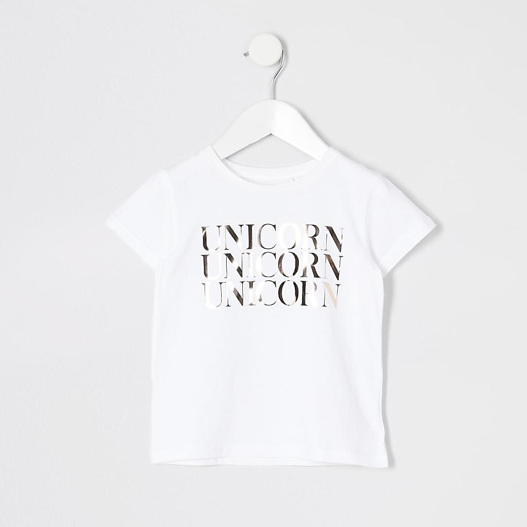 Mini girls unicorn mirror foil T-shirt