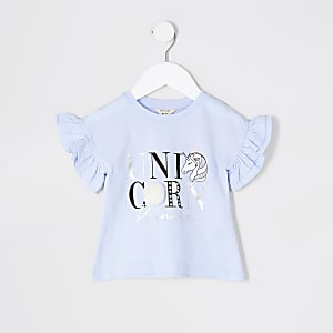 Mini - T-shirt met eenhoornprint en pompon voor meisjes