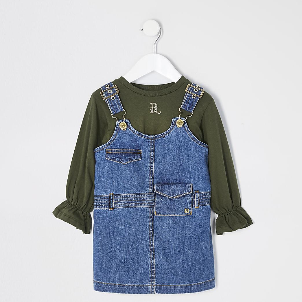 Mini - Utility overgooier jurk outfit voor meisjes