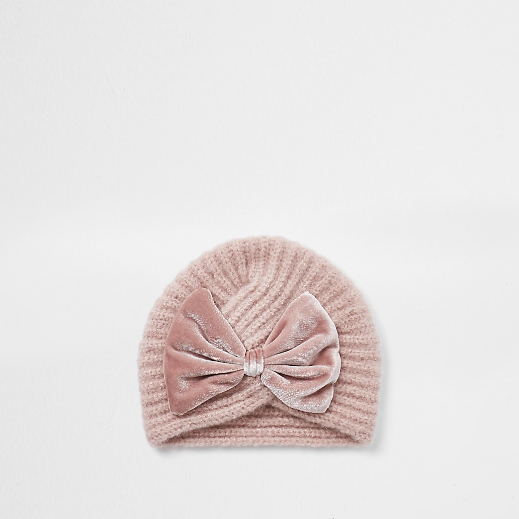 Mini girls velvet bow turban