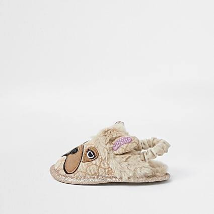 Mini girls velvet frenchie slippers