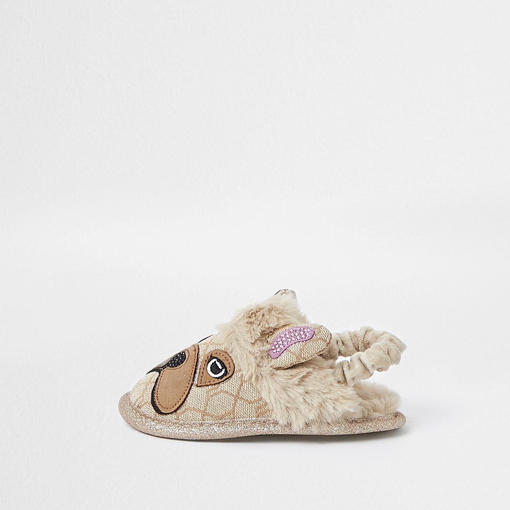 Mini girls velvet frenchie slippers
