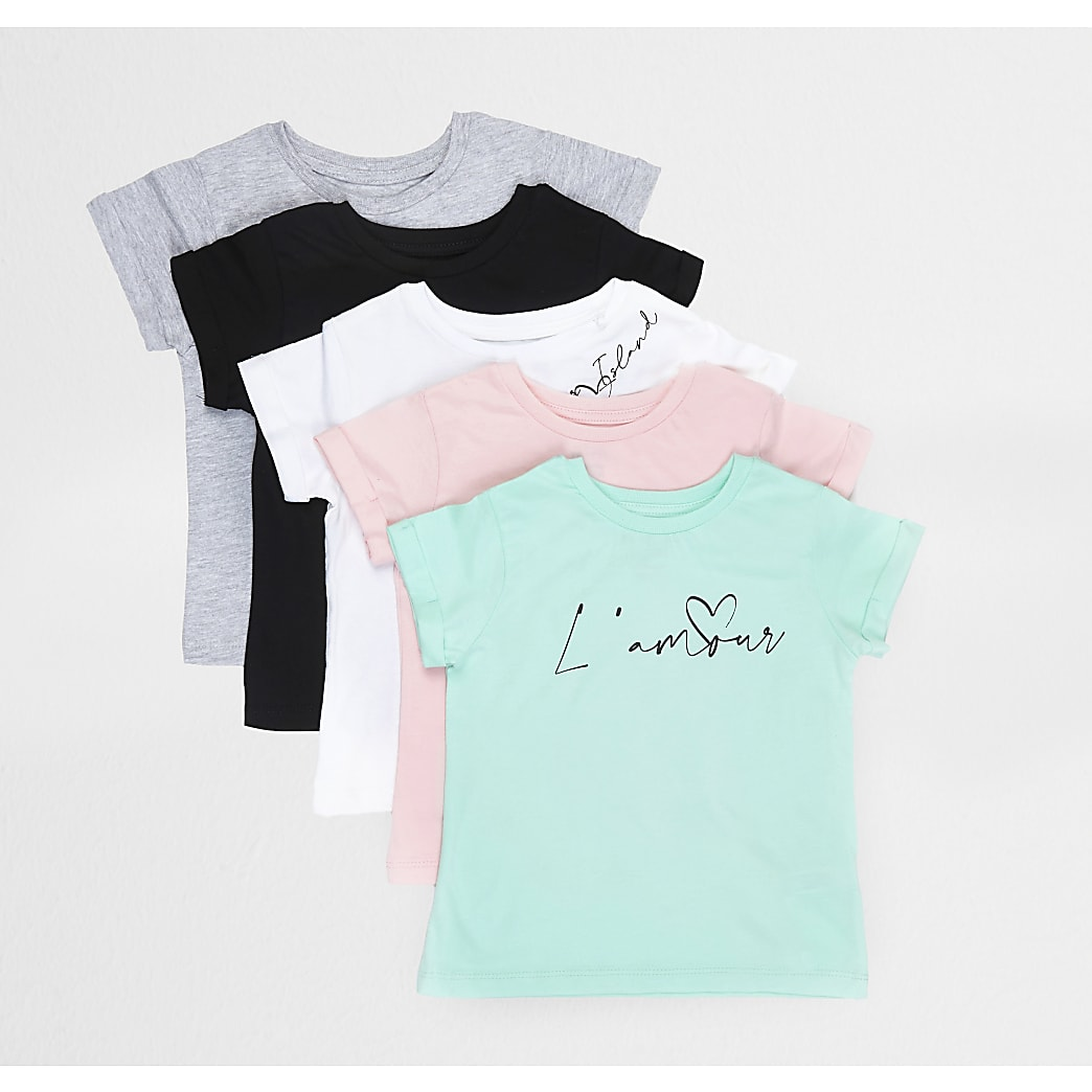 Mini girls white 5 pack t-shirt set