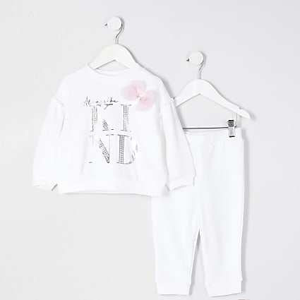 Mini girls white 'Always be kind' outfit