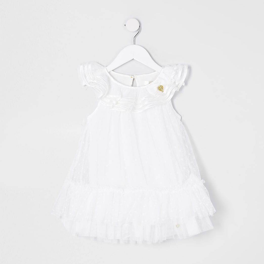 Mini girls white 'Angel Face' ruffle dress
