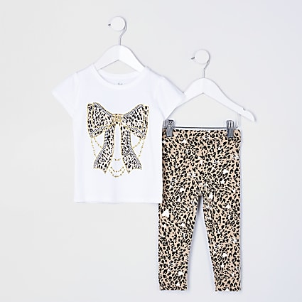 Mini girls white animal print legging set