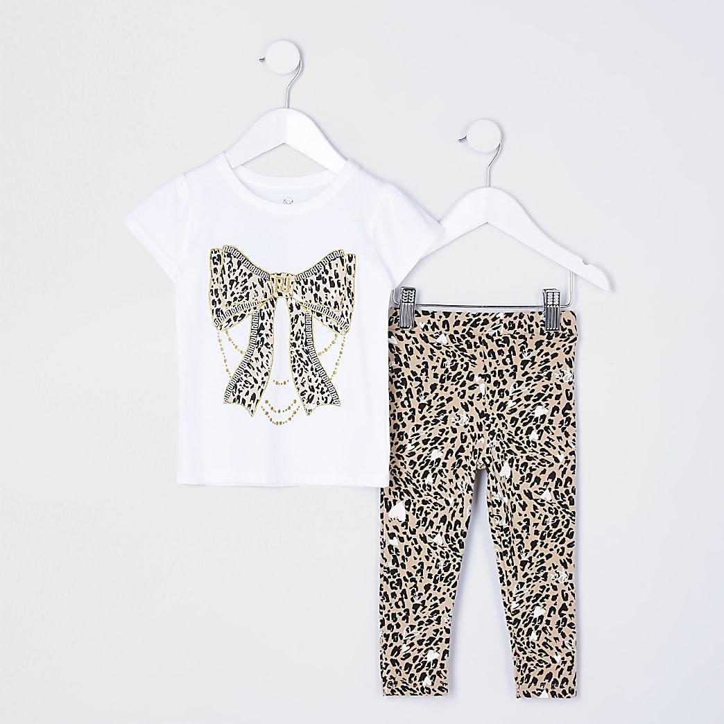 Mini girls white animal print legging set