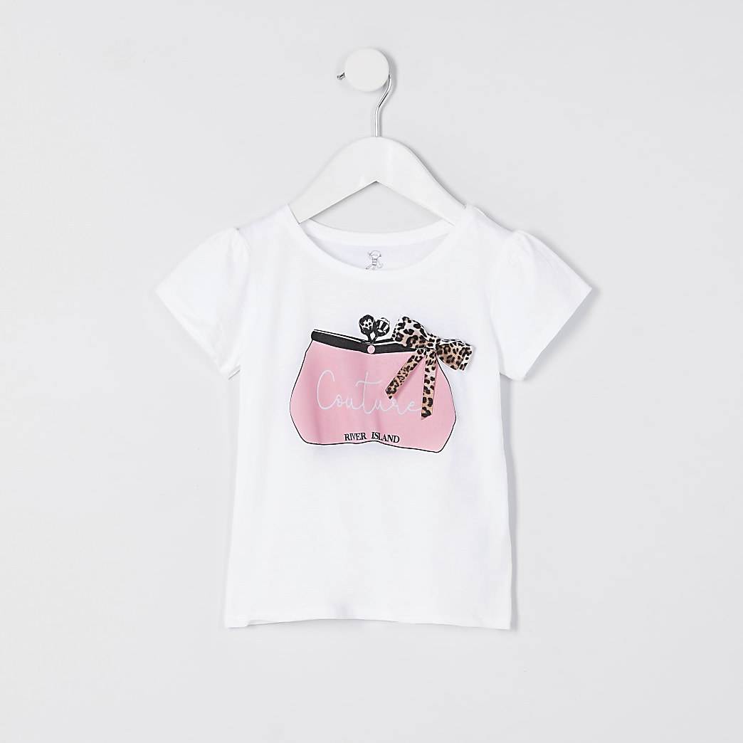 Mini girls white bag print bow t-shirt