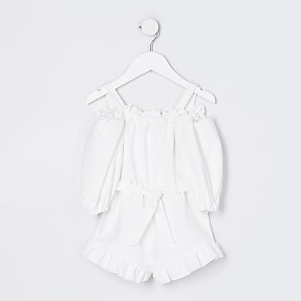 Mini girls white bardot playsuit