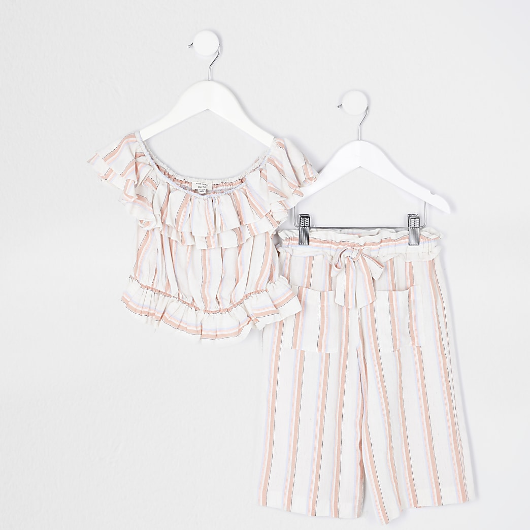 Mini girls white bardot top and trouser set
