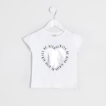 Mini girls white 'Be kind always' t-shirt