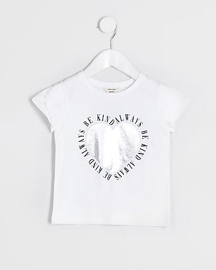 Mini girls white 'Be kind always' t-shirt