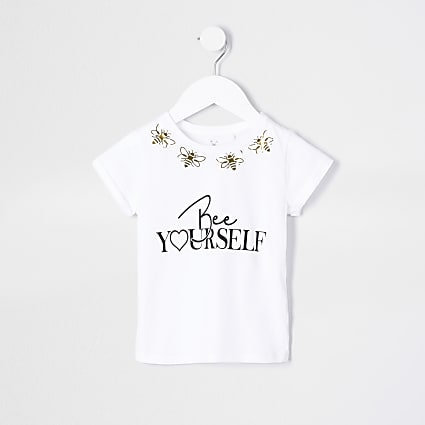 Mini girls white 'Bee Yourself' t-shirt