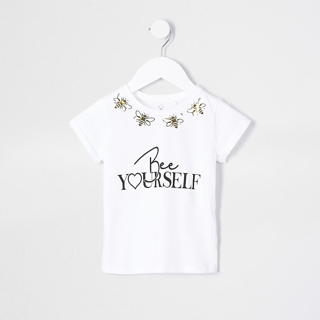 Mini girls white 'Bee Yourself' t-shirt