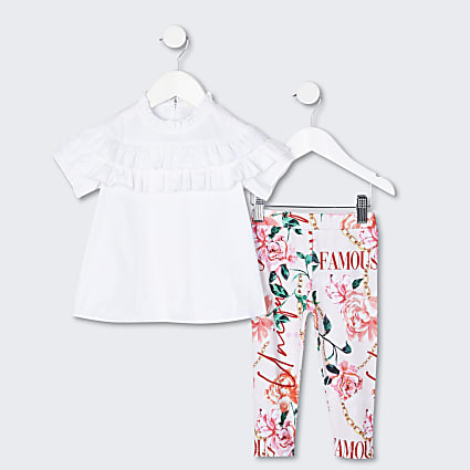 Mini girls white blouse and leggings outfit