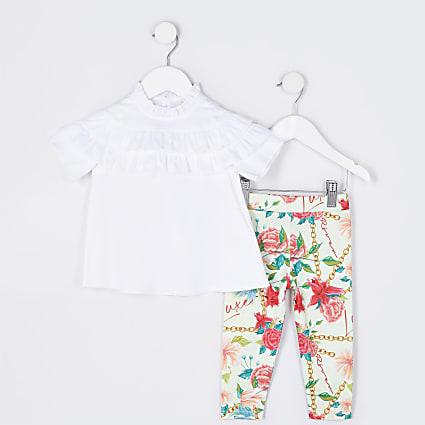 Mini girls white blouse and leggings set