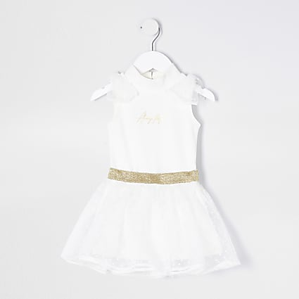 Mini girls white bodysuit and tutu outfit