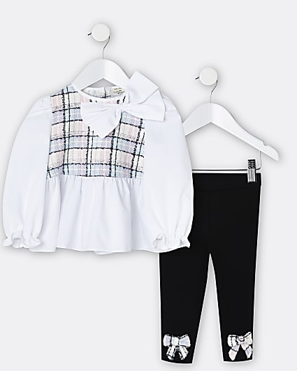 Mini girls white boucle bow blouse top outfit