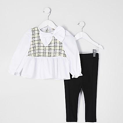 Mini girls white boucle peplum outfit