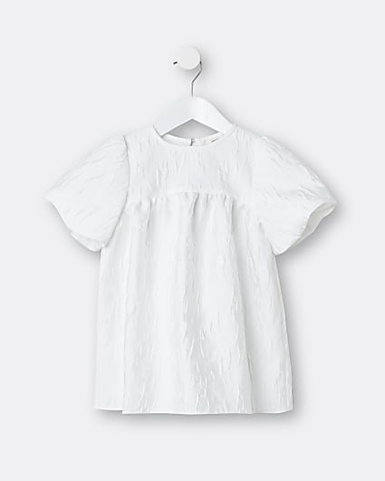 Mini girls white bow back dress