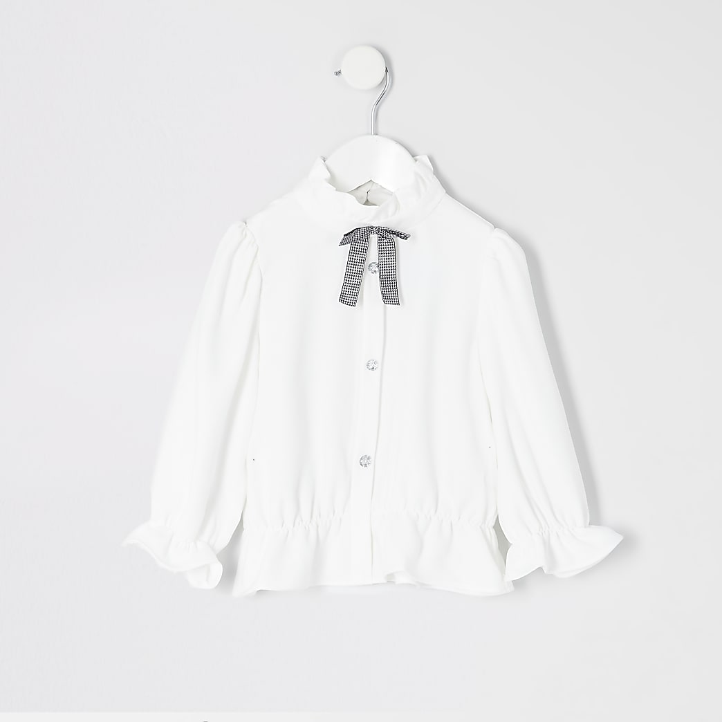 Chemise blancheavec nœud au col Mini fille