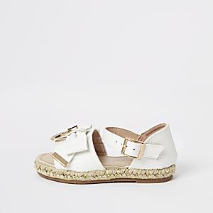 Mini – Weiße Espandrilles-Sandalen mit Schleife für Mädchen
