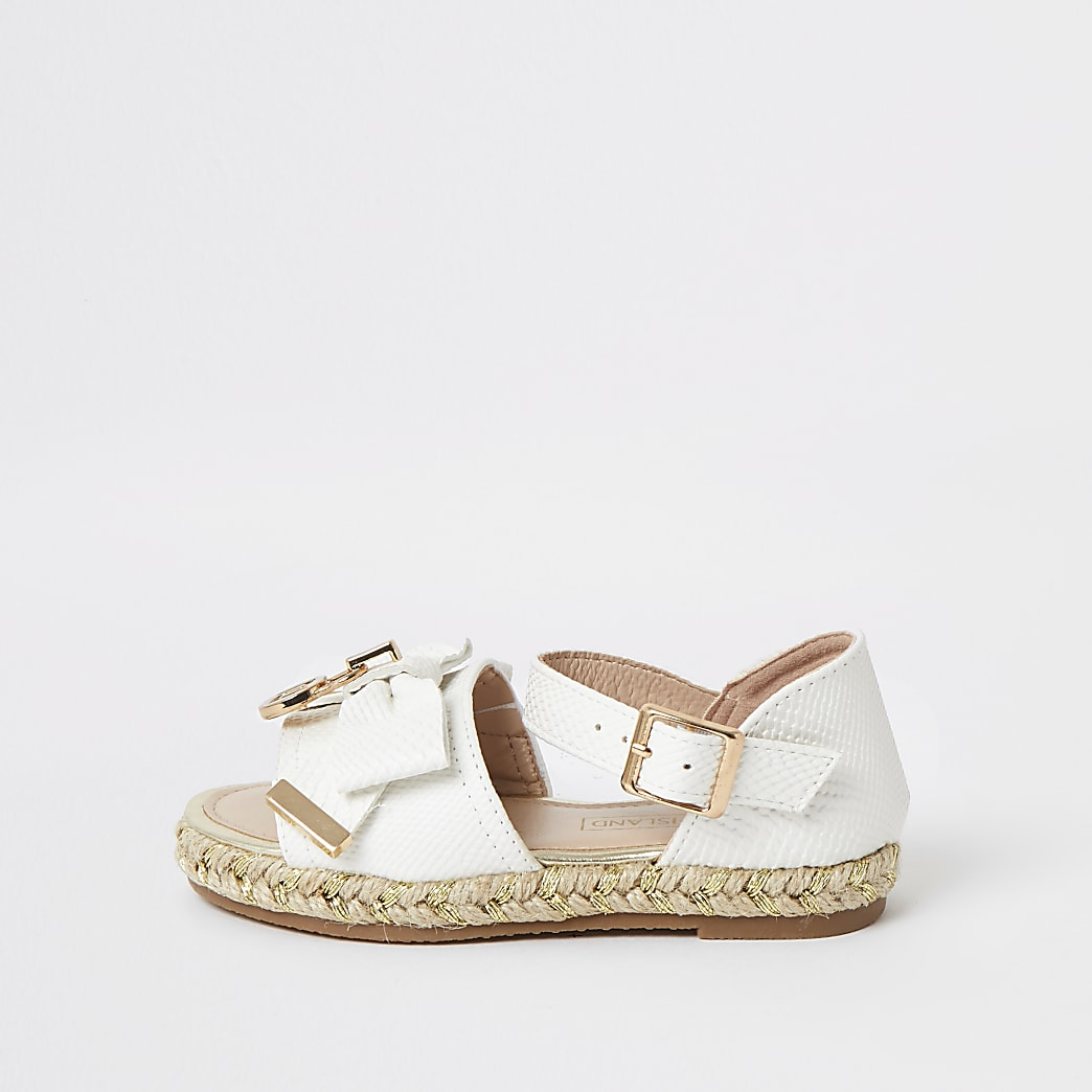 Mini girls white bow espadrille sandals