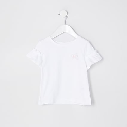 Mini girls white bow frill t-shirt