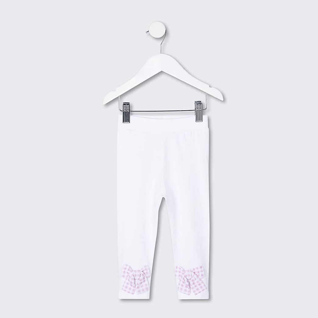 Mini girls white bow hem leggings