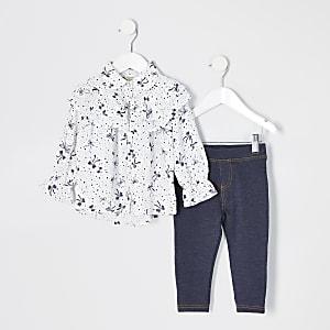 Mini – Outfit mit weißer Bluse mit Print und Schleifenkragen für Mädchen