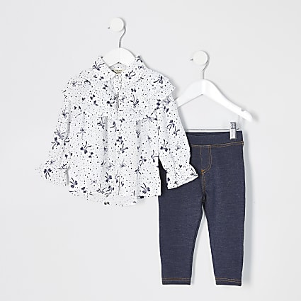 Mini girls white bow printed shirt outfit