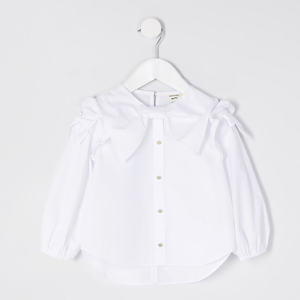 Mini girls white bow shirt